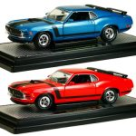 1970 Ford Mustang Boss 302 Red and Dark Aqua Metallic Set of 2 Cars 1/24 Diecast Model Car by M2 Machines