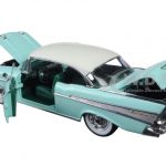 1957 Chevrolet Bel Air Hardtop Surf Green and India Ivory 1/24 Diecast Model Car by M2 Machines