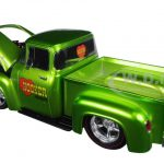 1956 Ford F-100 Pickup Truck Lime Green Ground Pounders Hooker Headers 1/24 Diecast Model by M2 Machines