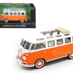 1962 Volkswagen Microbus Bus Van With Open Roof Orange 1/43 Diecast Model Car by Road Signature