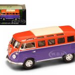 1962 Volkswagen Microbus Van Bus Orange/Purple 1/43 Diecast Car by Road Signature
