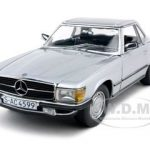 1977 Mercedes 350 SL Coupe Silver 1/18 Diecast Car Model by Sunstar