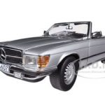 1977 Mercedes 350 SL Open Convertible Silver 1/18 Diecast Car Model by Sunstar