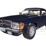 1977 Mercedes 350 SL Closed Convertible Dark Blue 1/18 Diecast Model Car by Sunstar
