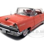 1956 Lincoln Premiere Closed Convertible Island Coral/Red Platinum Edition 1/18 Diecast Model Car by Sunstar