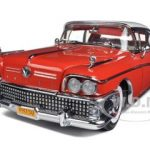 1958 Buick Limited Riviera Coupe Glacier White/Seminole Red Platinum Series 1/18 Diecast Car Model by Sunstar