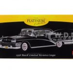 1958 Buick Limited Riviera Coupe Black Charcoal Platimun Series 1/18 Diecast Model Car by Sunstar