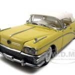 1958 Buick Limited Soft Top Sylvan Grey/Yellow Platinum Edition 1/18 Diecast Car Model by Sunstar