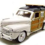 1948 Ford Woody With Wood And Surfboard Cream 1/18 Diecast Model Car by Road Signature