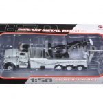 Peterbilt 367 with Century Rotator Wrecker Tow Truck Gray with Chain 1/50 Diecast Model  by First Gear