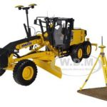 Komatsu GD655-5 Motor Grader with Ripper and Figure with GPS Base and Rover 1/50 Diecast Model by First Gear