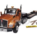 Kenworth T880 Tri Axle Lowboy Trailer Aztec Gold / Black 1/50 Diecast Model by First Gear