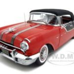1955 Pontiac Star Chief Closed Convertible Red/Black Platinum Edition 1/18 Diecast Model Car by Sunstar