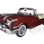 1955 Pontiac Star Chief Open Convertible Persian Maroon / White Mist Platinum Series 1/18 Diecasat Model Car by Sunstar