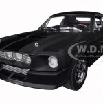 1967 Ford Shelby Mustang GT 500 Matt Black with Gloss Black Stripes 1/18 Diecast Car Model by Greenlight