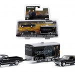 1968 Chevy C-10 Pickup and 1967 Chevrolet Impala 4 Doors with Enclosed Car Hauler Set Supernatural Series 1/64 Diecast Model Cars by Greenlight
