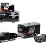 2015 Ford F-150 Pickup Truck and 1967 Custom Ford Mustang Eleanor with Enclosed Car Hauler Set Gone in 60 Seconds Movie 1/64 Diecast Model Cars by Greenlight