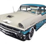 1956 Mercury MontClair Hard Top Lauderdale Blue / Classic White Platinum Series 1/18 Diecast Car Model by Sunstar