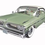1959 Pontiac Bonneville Hard Top Cameo Ivory/Dundee Green Platinum Edition 1/18 Diecast Model Car by Sunstar