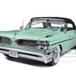 1959 Pontiac Bonneville Closed Convertible Seaspray Green 1/18 Diecast Car Model by Sunstar