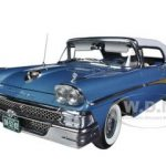 1958 Ford Fairlane 500 Closed Convertible Silverstone Blue / White 1/18 Diecast Car Model by Sunstar