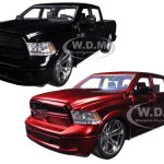 2014 Dodge Ram 1500 Custom Edition Pickup Truck Black & Red 2 Trucks Set 1/24 Diecast Model by Jada