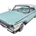 1960 Plymouth Fury Closed Convertible Aqua Mist Platinum Edition 1/18 Diecast Car Model by Sunstar