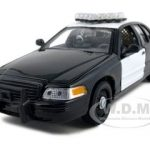 1999 Ford Crown Victoria Unmarked Police Car Black / White In Display Showcase 1/24 Diecast Car Model by Welly
