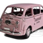 Fiat 600D Multipla Pink La Gazetta Dello Sport 1/18 Diecast Model Car by Unique Replicas