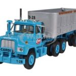 Mack R Model Blue With End Dump Trailer 1/64 Diecast Model by First Gear