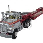 Mack R With Axle Lowboy Trailer Silver 1/64 Diecast Model by First Gear