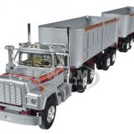 Mack R With Dual 22 End Dump Trailers Silver 1/64 Diecast Model by First Gear