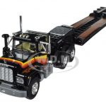 Mack R With Axle Lowboy Trailer Black 1/64 Diecast Model by First Gear