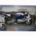 BMW S1000RR White with Blue Motorcycle Model 1/12 by Automaxx