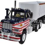 Mack R Model All American With 22 End Dump Trailer 1/64 Diecast Model by First Gear