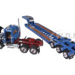 Mack Granite With Tri Axle Lowboy Trailer Blue 1/64 Diecast Model by First Gear