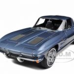 1963 Chevrolet Corvette Split Window Sting Ray Silver Blue 1/18 Diecast Car Model by Autoart