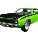 1970 Plymouth Cuda Green with Black 1/24 Diecast Model Car by New Ray