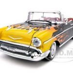 1957 Chevrolet Bel Air Convertible Black With Flames 1/18 Diecast Car Model by Motormax