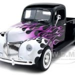 1940 Ford Pickup Black With Flames 1/18 Diecast Car Model by Motormax