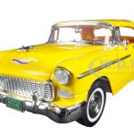 1955 Chevrolet Bel Air Convertible Soft Top Yellow Timeless Classics 1/18 Diecast Model Car by Motormax