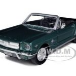 1964 1/2 Ford Mustang Convertible Green 1/24 Diecast Model Car by Motormax