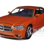 2011 Dodge Charger R/T Hemi Metallic Orange 1/24 Diecast Car Model by Motormax
