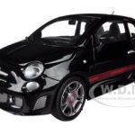 Fiat Abarth 500 Black 1/24 Diecast Car Model by Motormax