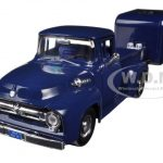 1956 Ford F-100 Pickup Truck Blue with Tear Drop Trailer 1/24 Diecast Model by Motormax
