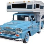 1958 Chevrolet Apache Pickup Truck Blue With Camper 1/24 Diecast Model by Motormax