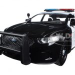 2013 Ford Police Car Interceptor Unmarked Black/White 1/24 Diecast Model Car by Motormax