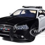 2011 Dodge Charger Pursuit Unmarked Black/White Police Car 1/24 Diecast Model Car by Motormax