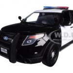2015 Ford Interceptor Unmarked Police Car Black/White 1/24 Diecast Model Car by Motormax