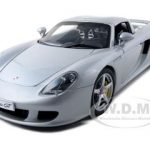 Porsche Carrera GT Silver with Black Interior 1/18 Diecast Car Model by Autoart